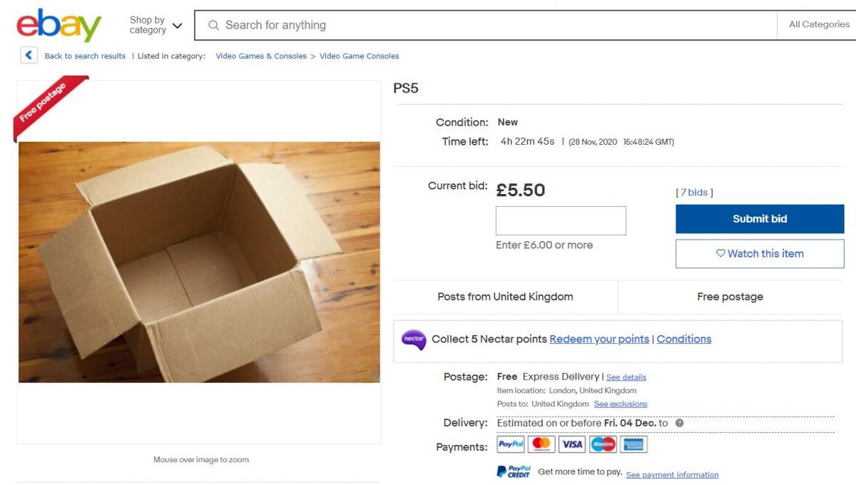 Порожня коробка під назвою PS5 / скріншот