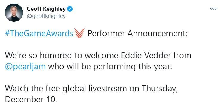Джефф Кілі оголосив про виступ Едді Веддера на TGA 2020 / скріншот