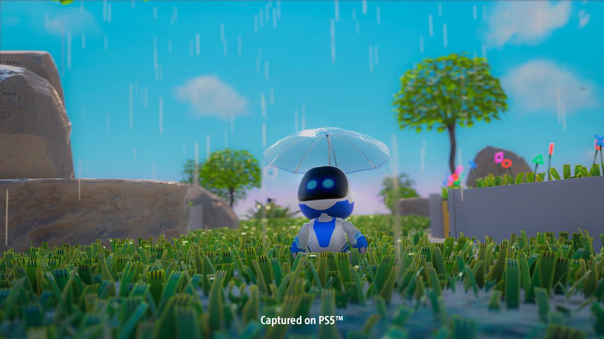 В Astro's Playroom вы действительно сможете ощутить, как дождь барабанит по зонтику/скриншот