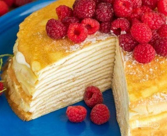 Рецепт блинного торта с заварным кремом/ фото pinterest.com