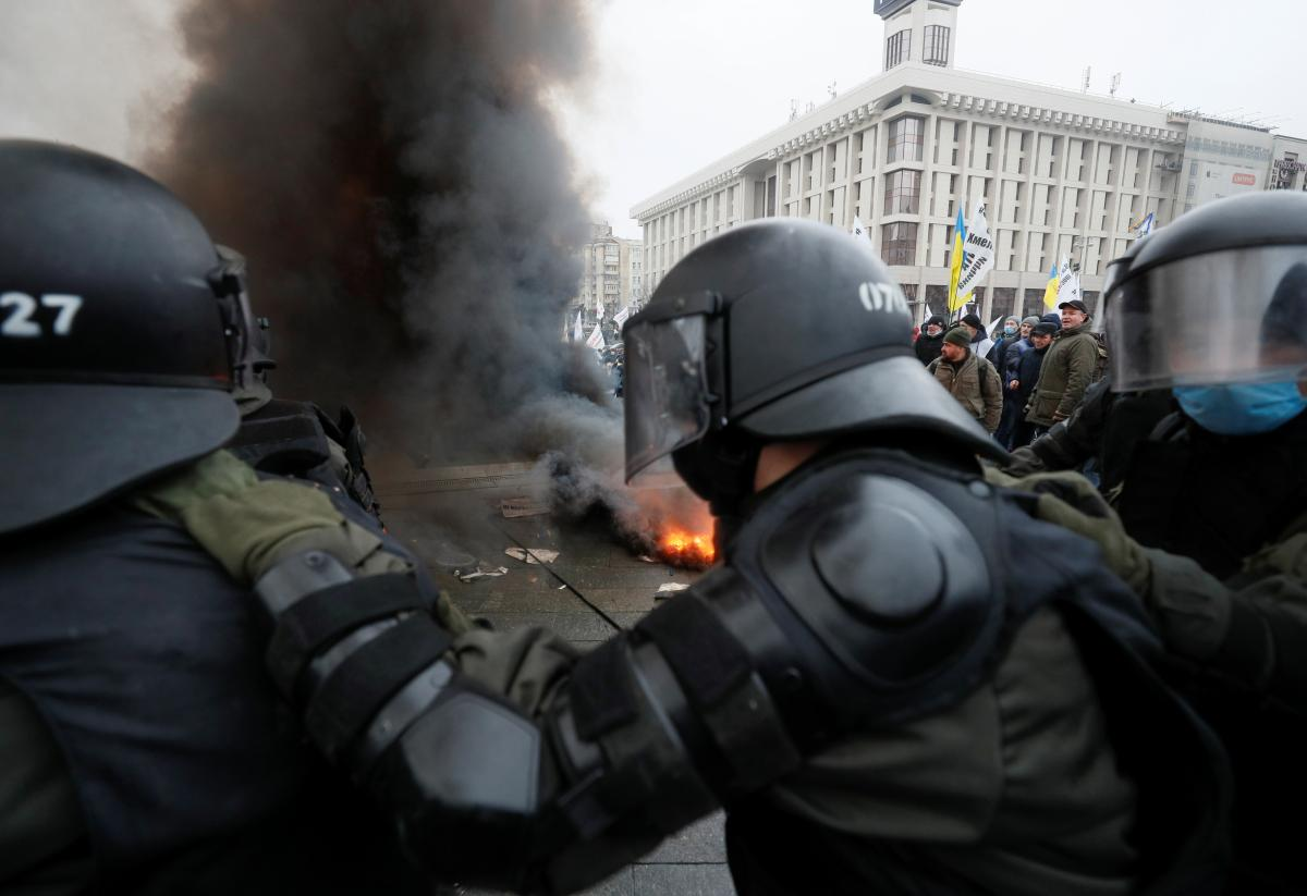 Entrepreneurs, police clash amid rally downtown Kyiv / REUTERS