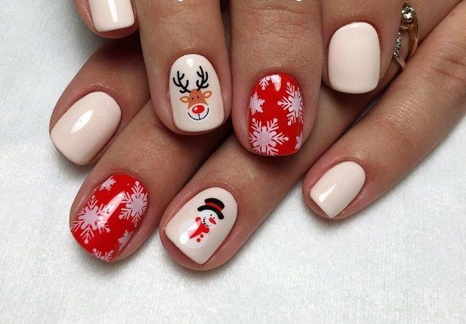 Красный новогодний маникюр / фото joy-pup.com