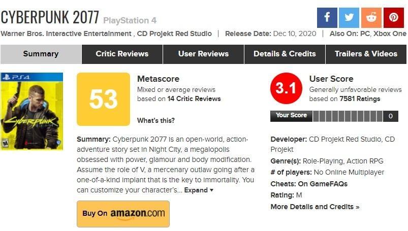 Оценки версии игры для PS4 на Metacritic / скриншот