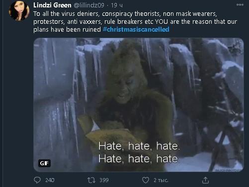 Пользователь обвияет COVID-атеистов и нарушителей каратнинных правил в срыве Рождества/ Twitter