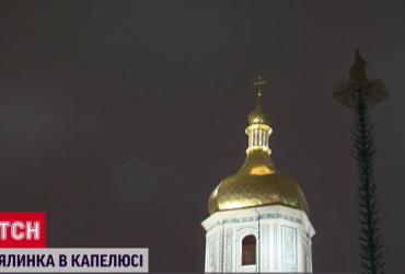 В Киеве на главную елку страны надели шляпу (фото, видео)