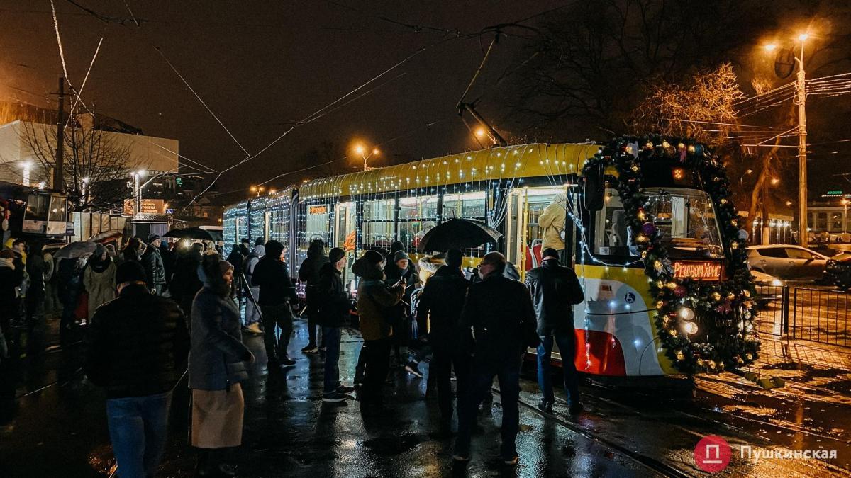 Рождественский парад трамваев прошел в Одессе / фото Пушкинская
