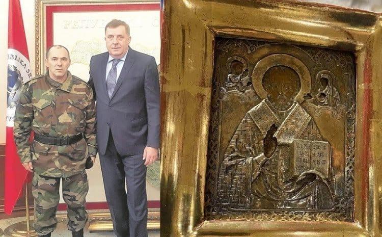 Ікона зберігалася в банківському сейфі Banke Srpske до його банкрутства / колаж Facebook, Балканський оглядач