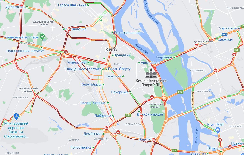 Ситуація на мостах Києва / Google Maps
