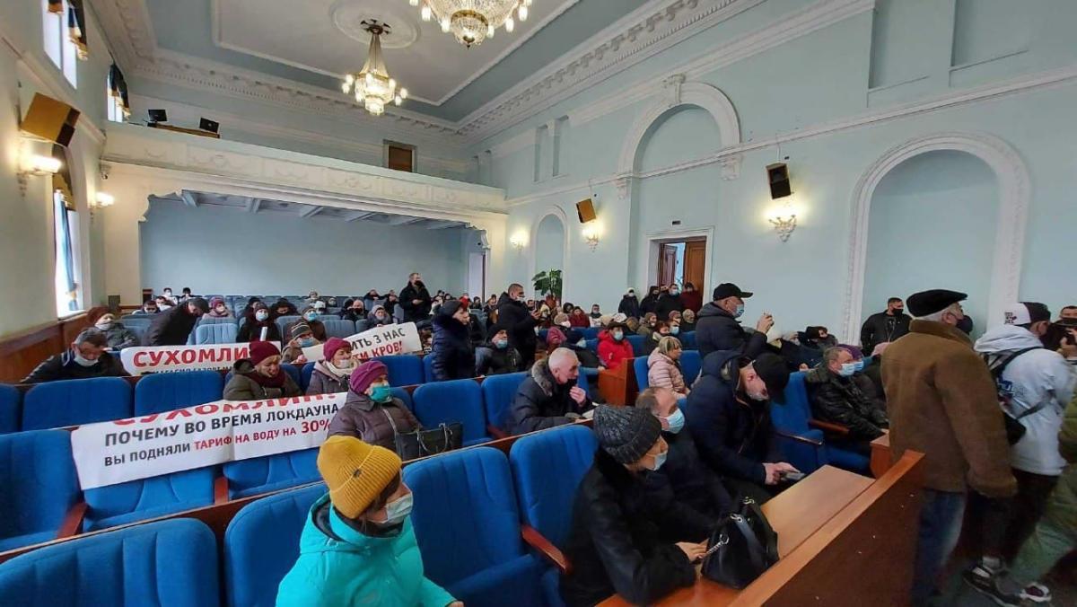 Протестувальники вже у міській раді Житомира / Фото УНІАН