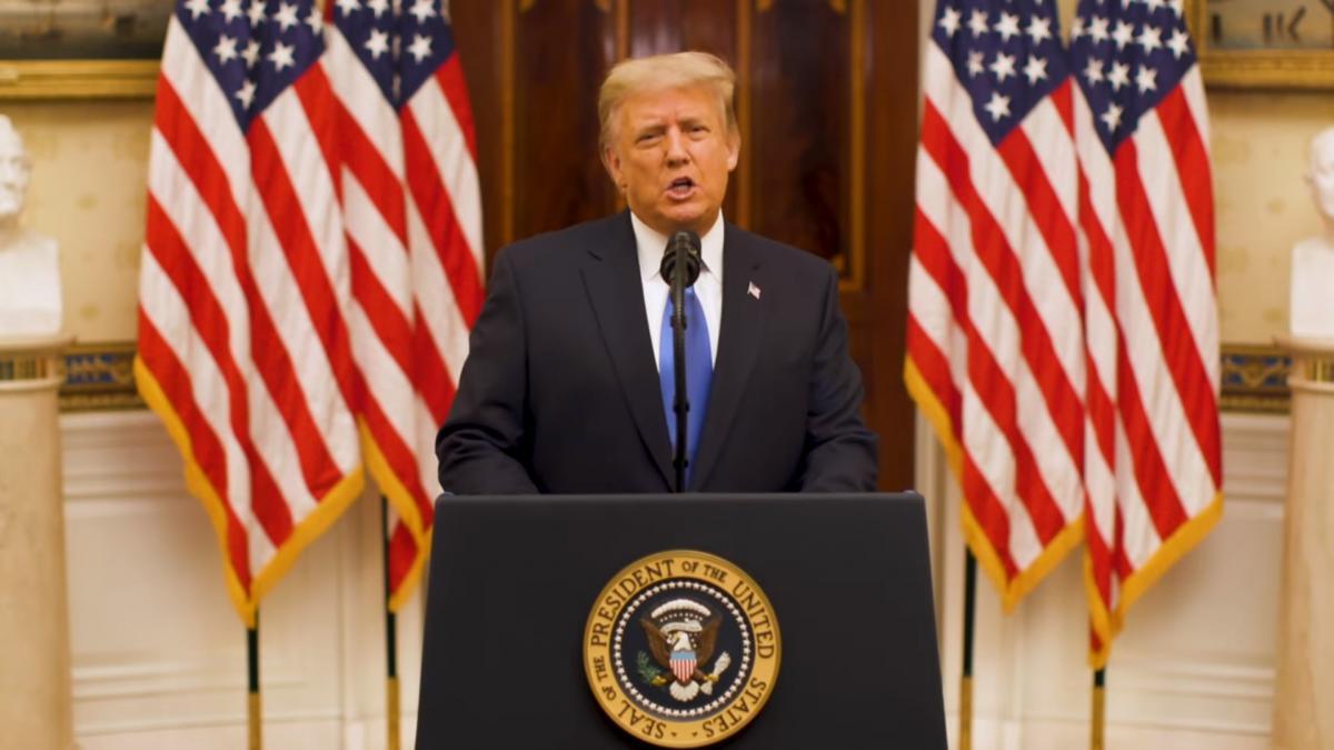 """Трамп сказав, що """"молиться за успіх"""" адміністрації Байдена / скріншот з відео"""