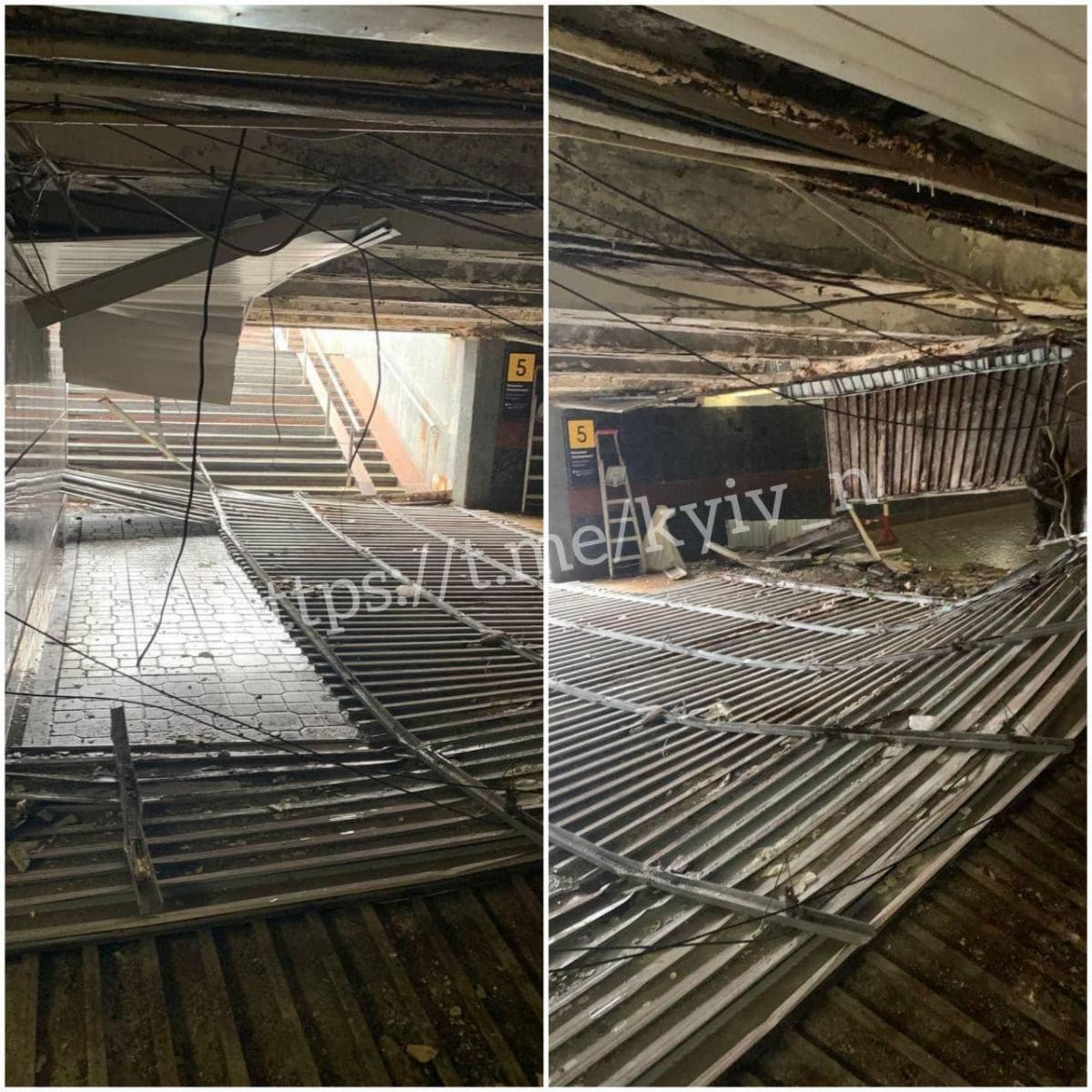 Пострадавших в результате обрушения потолка нет / фото t.me/kyiv_n