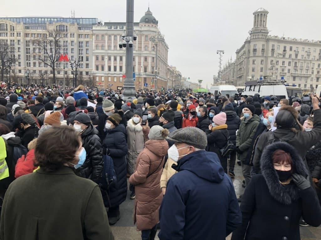 В МВД заявили, что на площади собрались около 4 тысяч человек / фото Штаб Навального в Telegram
