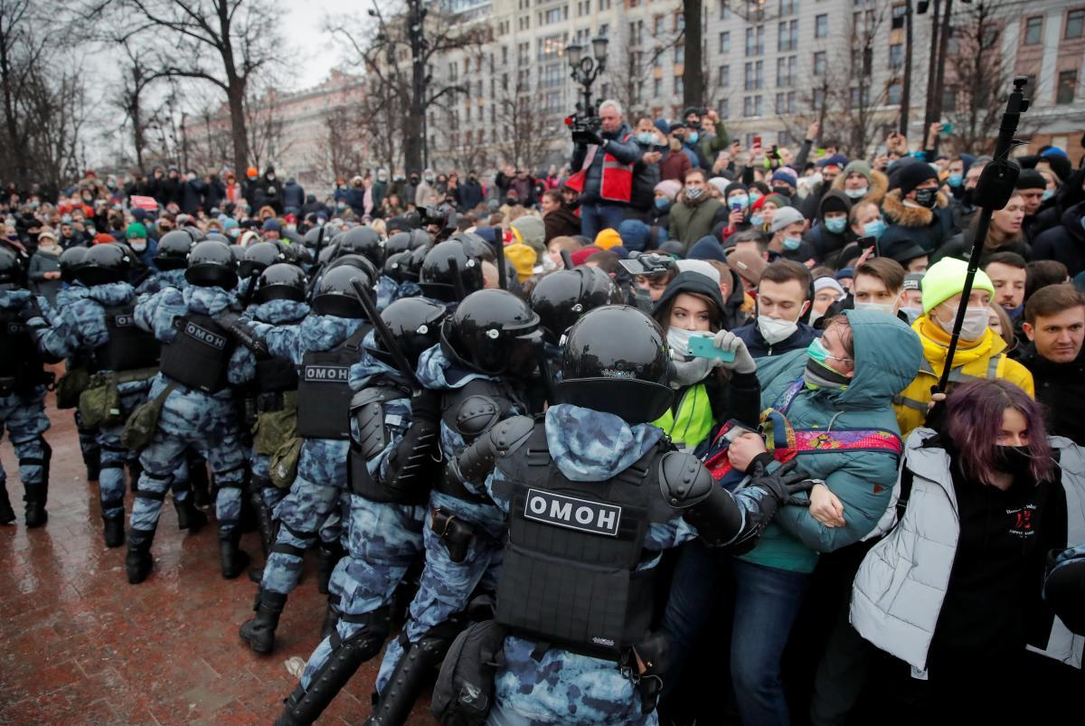 23 січня в Росії пройшли акції на підтримку російського опозиціонера Олексія Навального / фото REUTERS