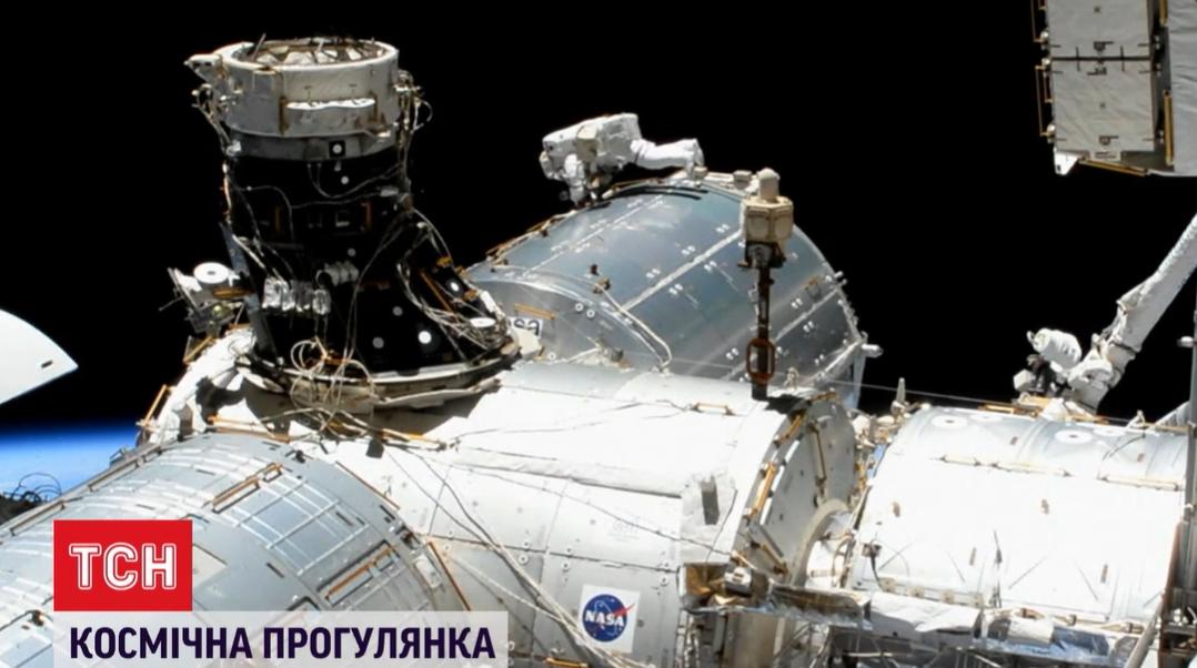 Космонавты находились в открытом космосе 7 часов \ скриншот с видео