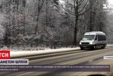 Во Львовской области замело дороги и образовался гололед