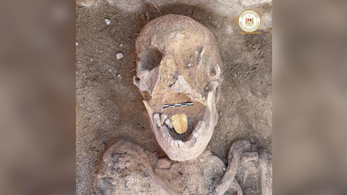 """Возможно, золотой язык должен был помочь умершему """"говорить"""" в загробной жизни / фото Egyptian antiquities ministry"""