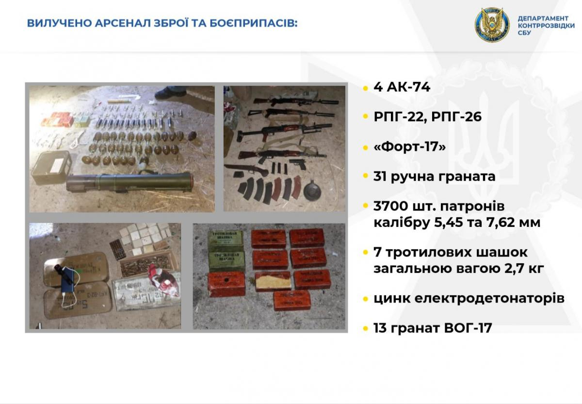 An arsenal of weapons and ammo was seized in raids / SBU