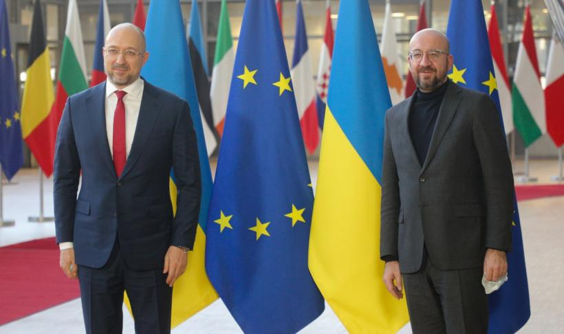 Denys Shmyhal (left) and Charles Michel (right) / Photo from kmu.gov.ua
