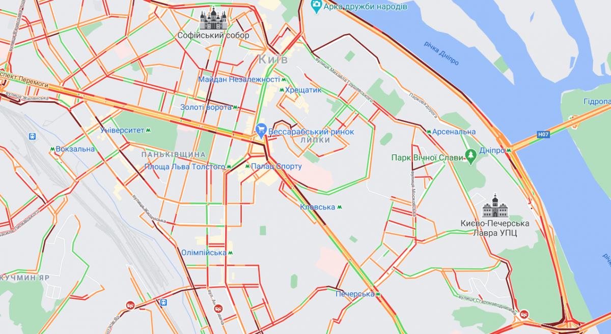 Багато вулиць заблоковано /Google Maps