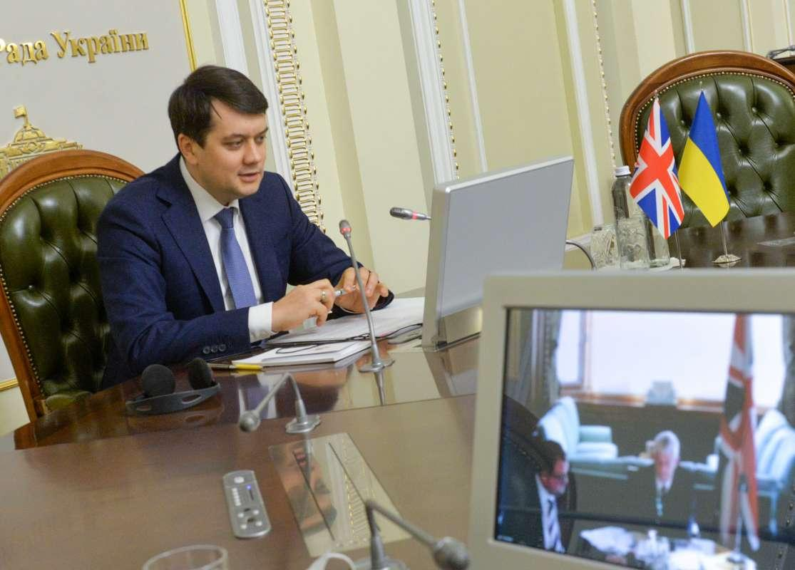 Razumkov and Hoyle during an online conference / Photo from the Verkhovna Rada