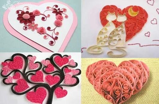 Валентинки из техники квиллинг / фото pinterest.com