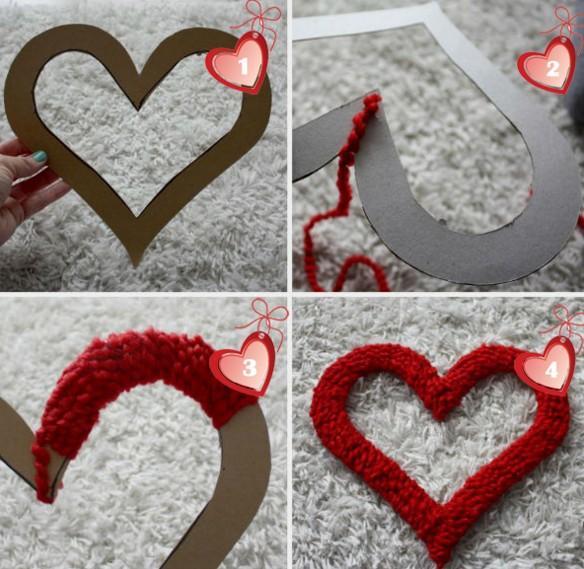 Валентинка из ниток / фото pinterest.com