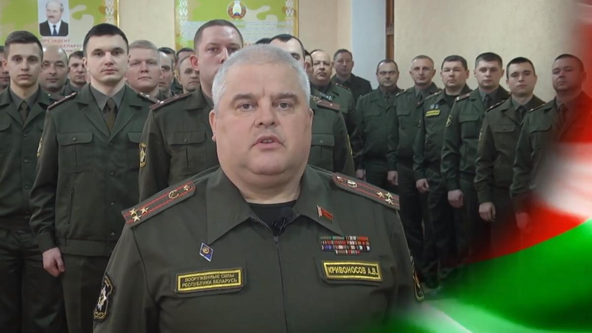 """Військові завершили церемонію гаслом """"Люблю і служу Республіці Білорусь"""" / скріншот з відео"""