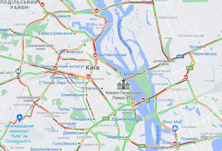 Ситуация на мостах Киева / google.com/maps