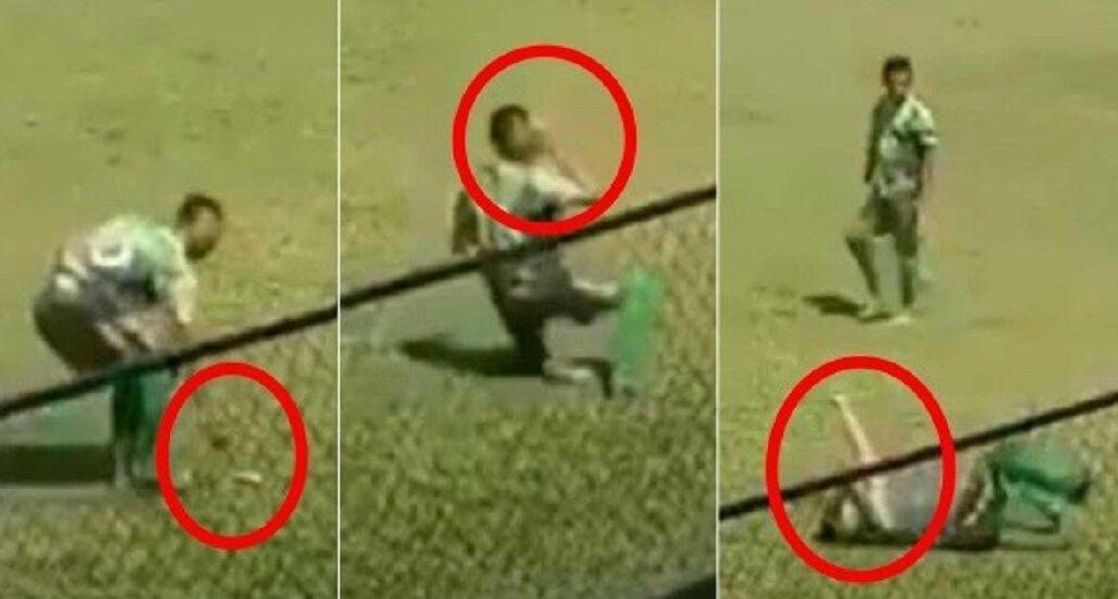 Футболист ударил себя и упал на газон / скриншот/redgol.cl