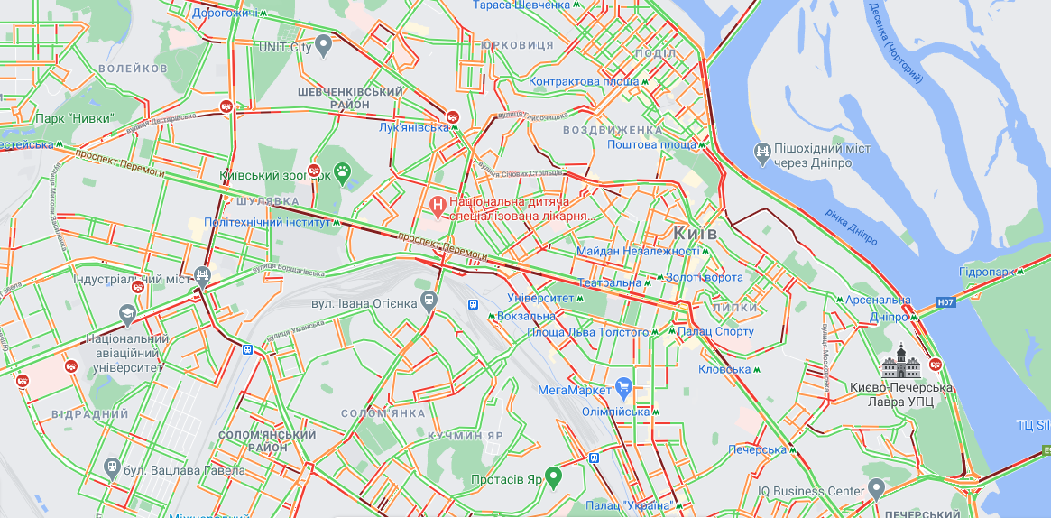 Ситуация на дорогах Киева 25 февраля / google.com/maps