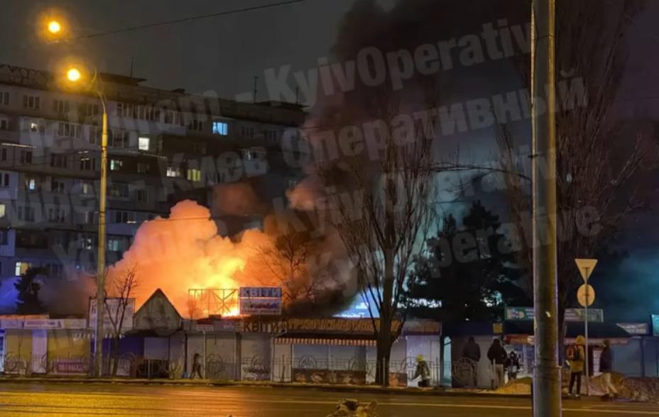 Пожежа на ринку / скріншот відео