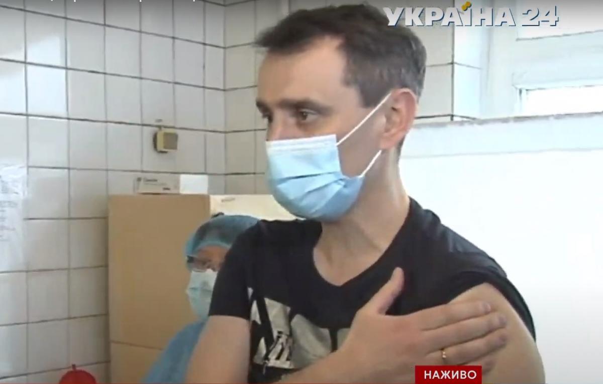 Виктор Ляшко вакцинировался в одной из больниц Киевской области/ скриншот из видео