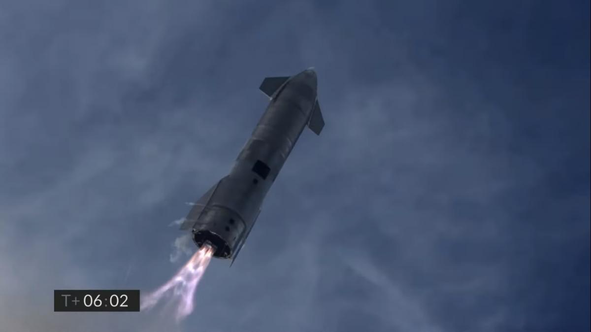 SpaceX успішно випробувала корабель Starship / скріншот SpaceX