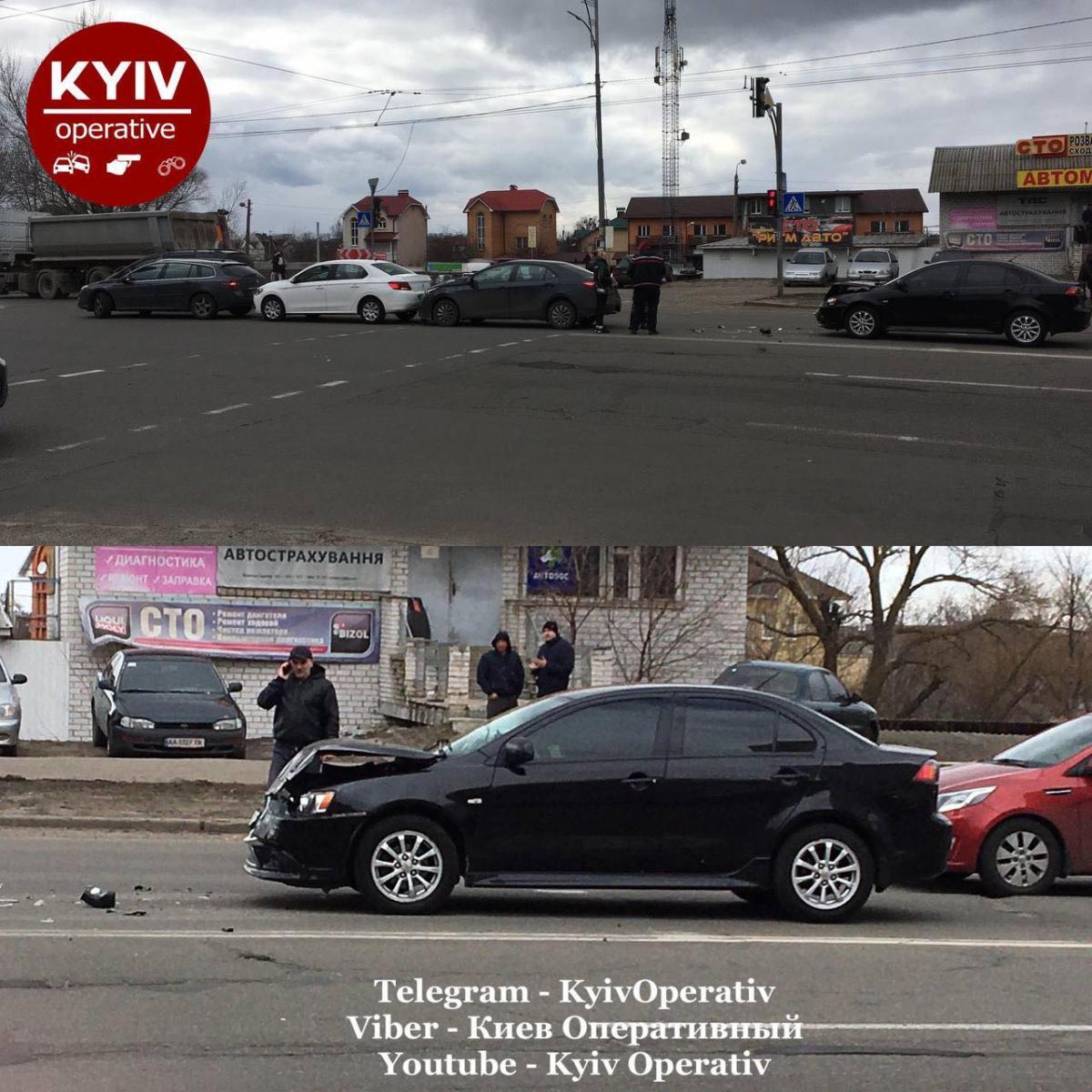 ДТП на Троещине / фото: Киев Оперативный Facebook