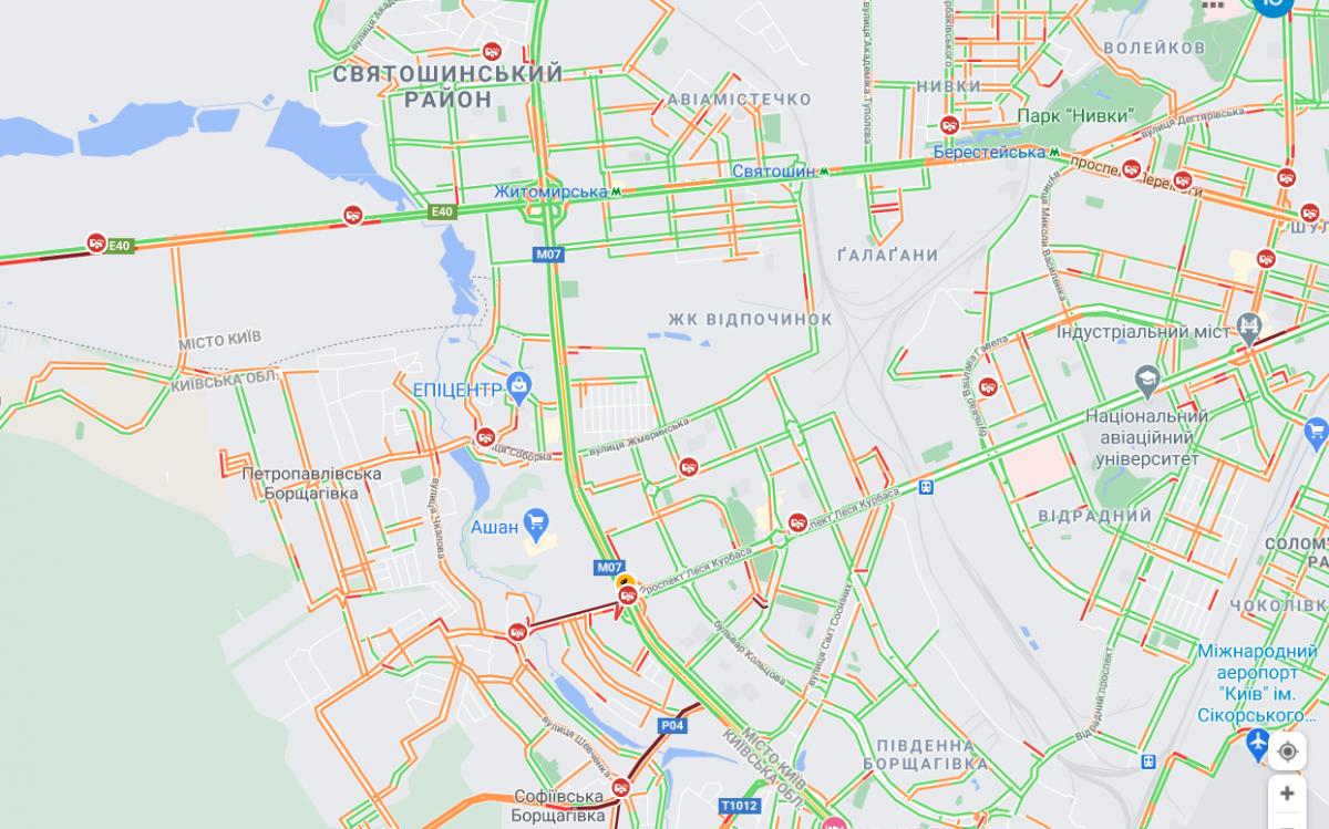 ДТП в Киеве вечером 8 марта / Google Maps