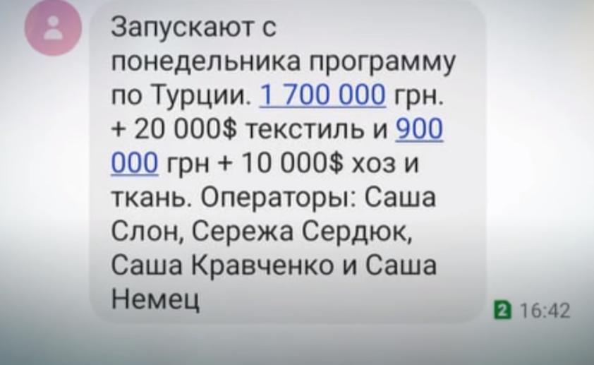Скриншот сообщения с расценками