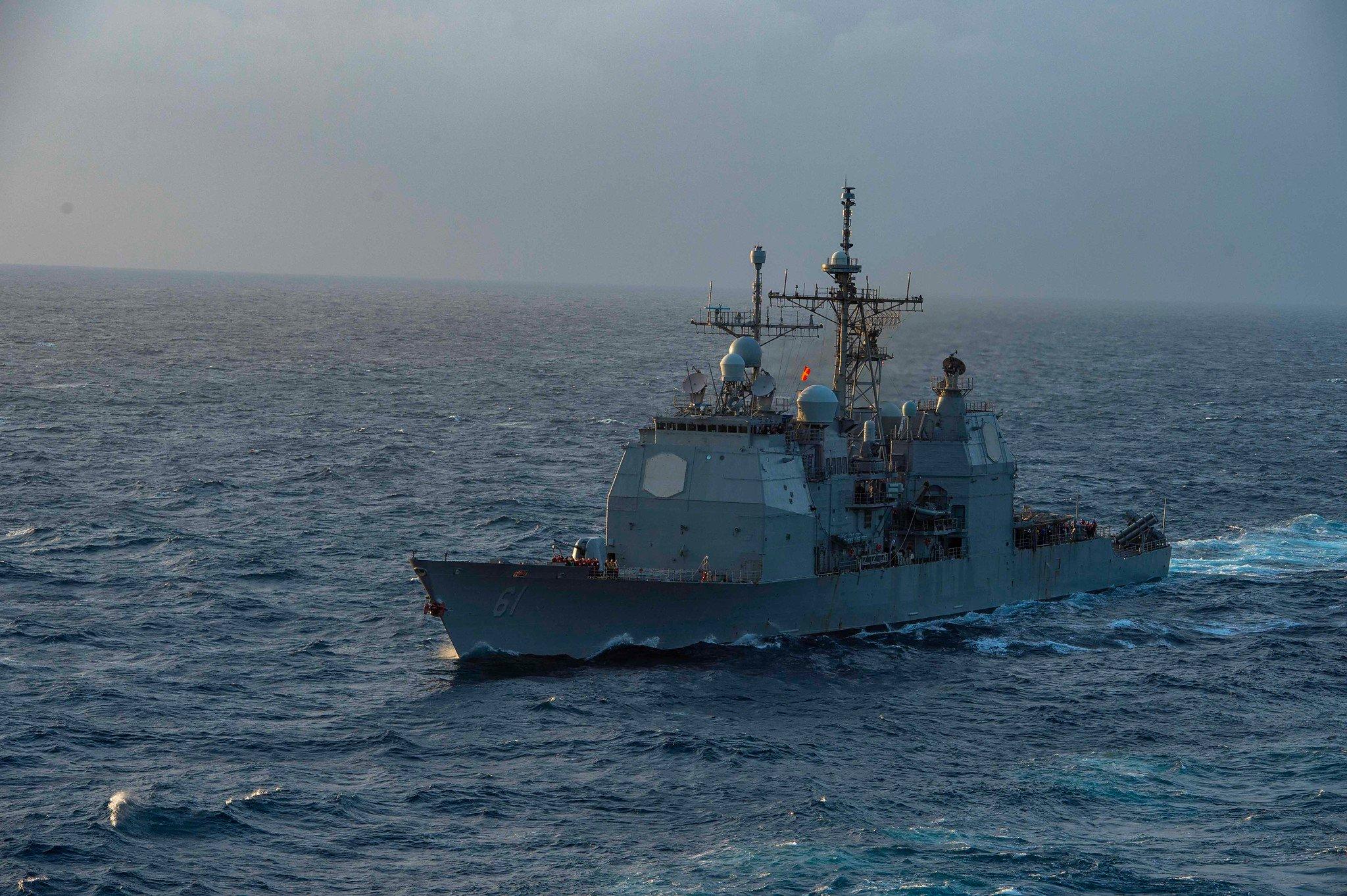"""""""Монтерей"""" является ракетным крейсером ВМС США класса """"Тикондерога"""" /фото twitter.com/USNavyEurope"""