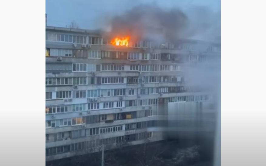 Пожар в Киеве / скриншот