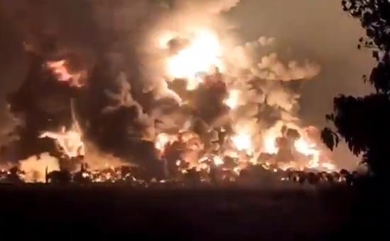 Сразу после взрыва начался пожар / Скриншот