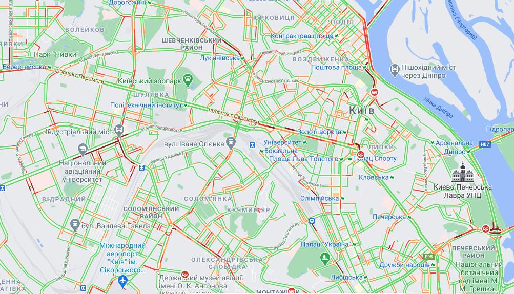 Ситуація на дорогах Києва 29 березня / google.com/maps