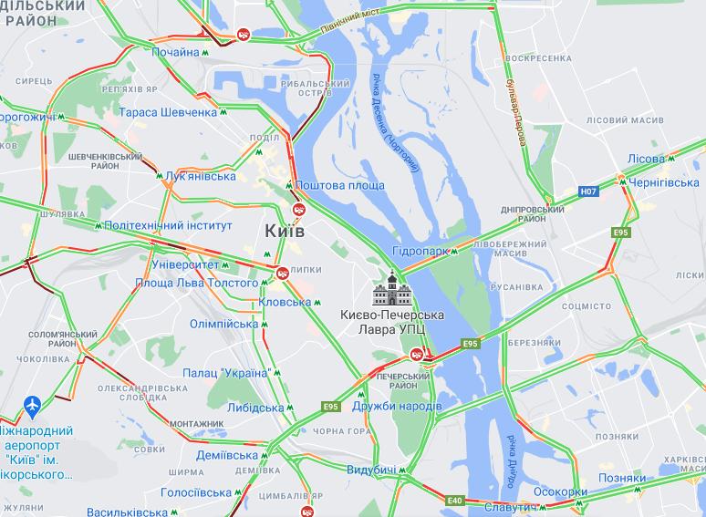Затори на мостах Києва / google.com/maps
