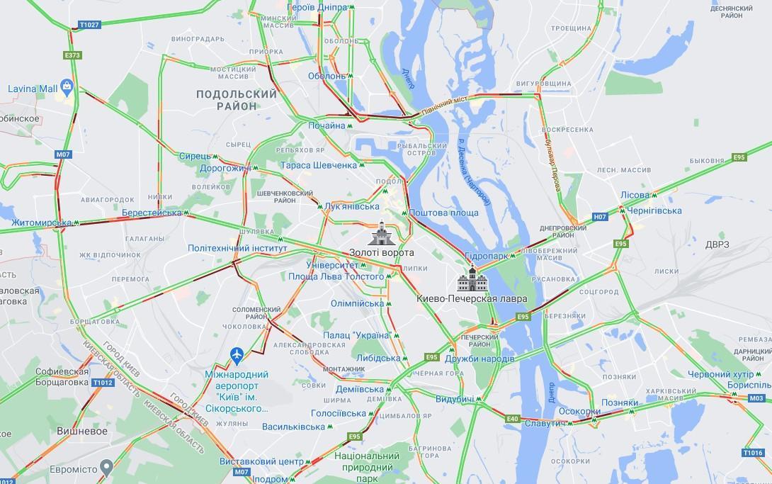 Пробки на вулицях Києва 30 березня / скріншот