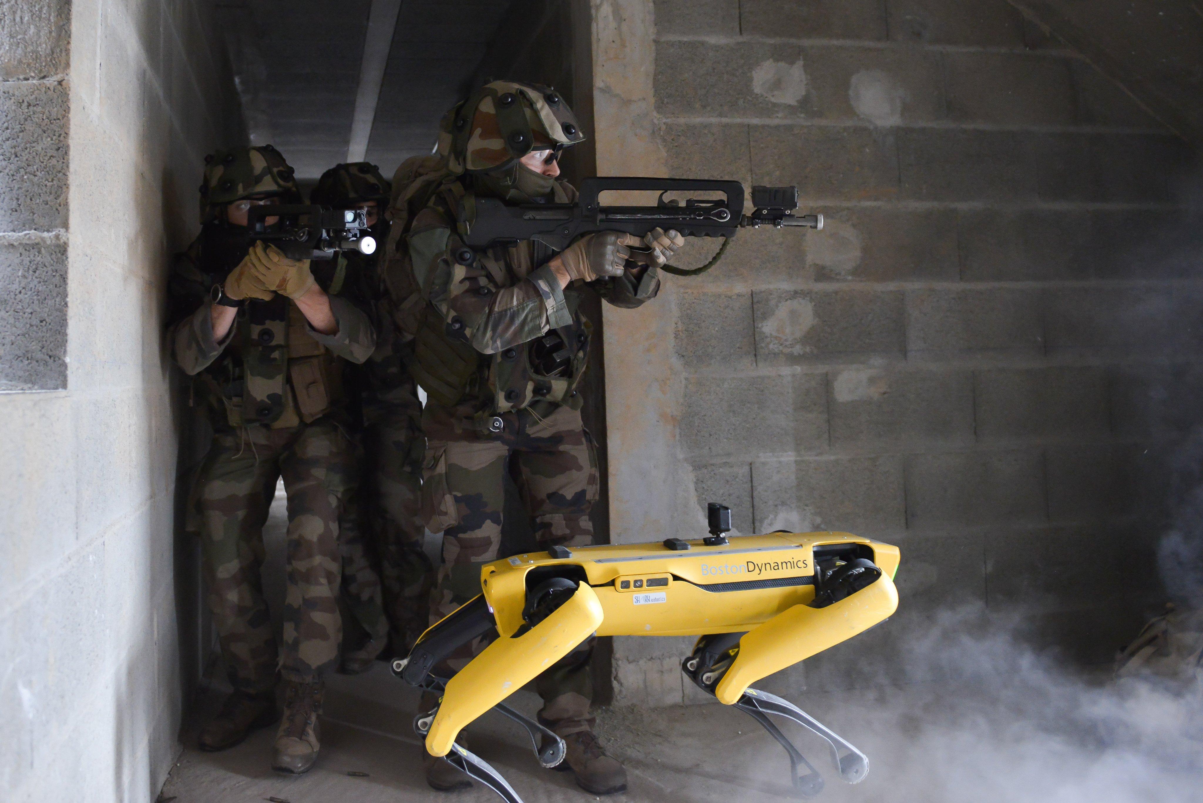 В Boston Dynamics говорят, что не знали о намерениях французских военных использовать робопса в своих учениях/ фото twitter.com/SaintCyrCoet