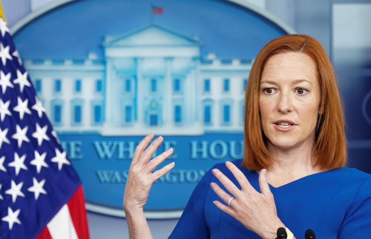 Пресс-секретарь Белого дома Джен Псаки заявила, что США обеспокоены агрессией РФ в отношении Украины / фото REUTERS