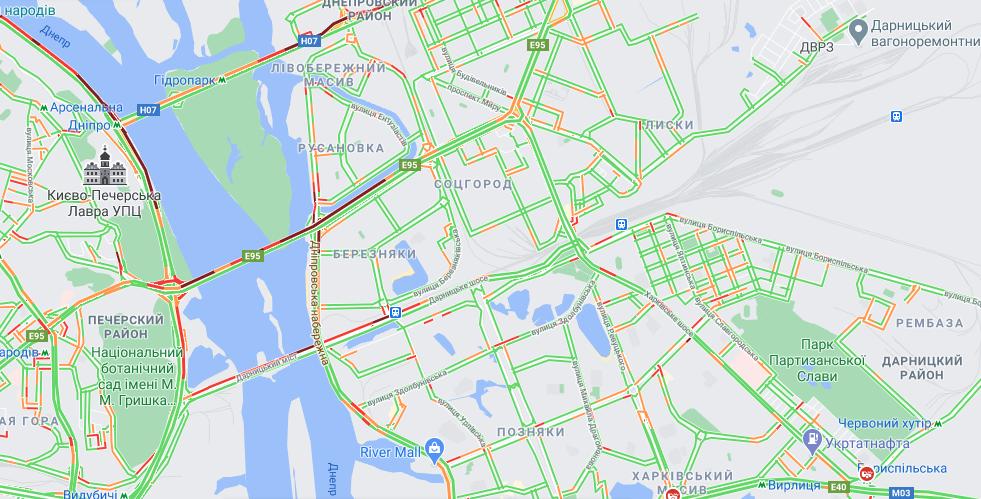 Ситуация на дорогах в Киеве 12 апреля / скриншот