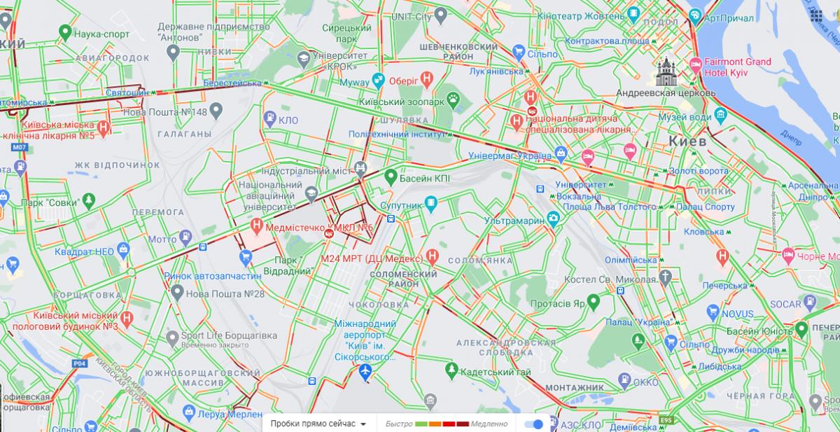 Ситуация на дорогах в Киеве 13 апреля / скриншот