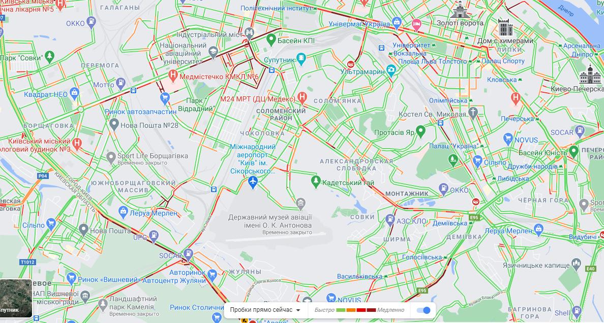 Ситуація на дорогах у Києві 14 квітня / скріншот