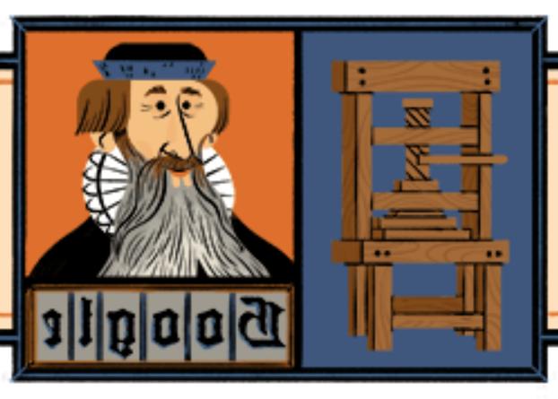 Дудл в честь немецкого изобретателя ИоганнаГутенберга / скриншот