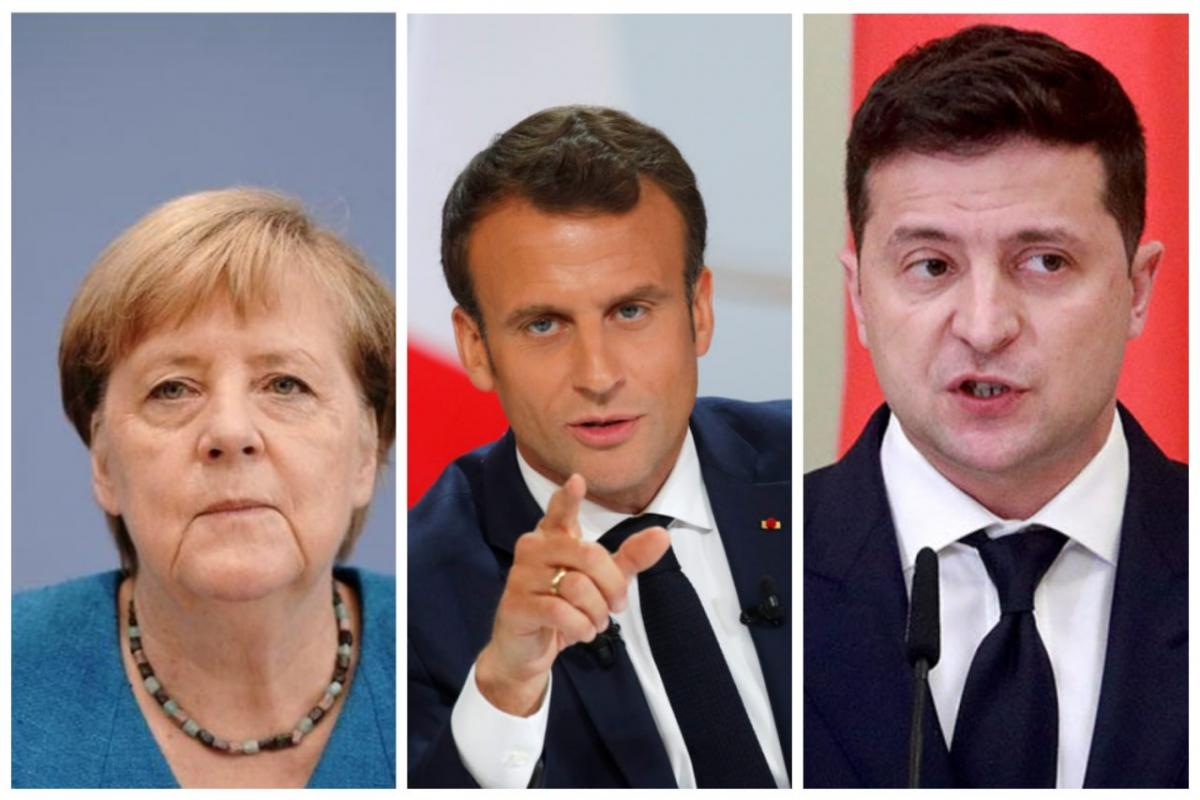 Merkel, Macron and Zelensky / REUTERS