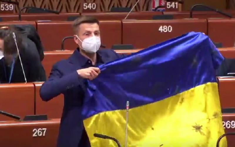 Президент ПАСЕ внезапно пригрозил Гончаренко санкциями за развернутый флаг / Александр Гончаренко в ПАСЕ, скриншот УНИАН